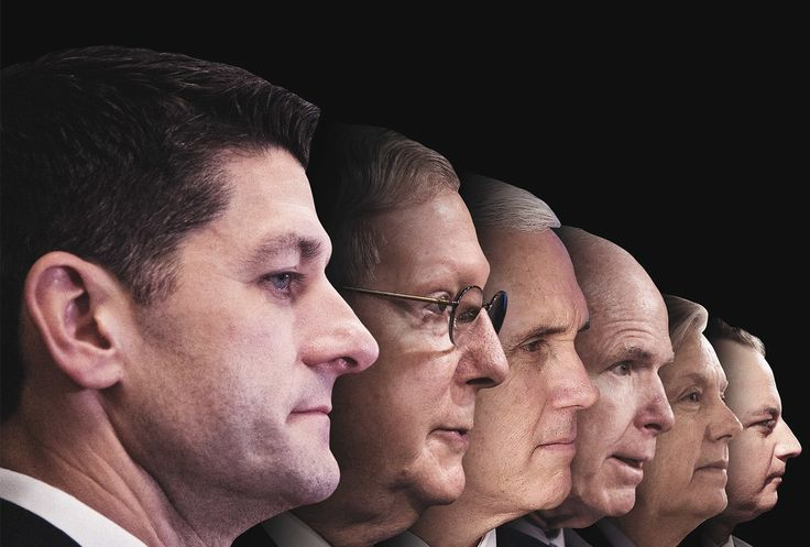 PROFILES IN COWARDICE House Speaker Paul Ryan, Senate majority leader Mitch McConnell, Vice President Mike Pence, Senators John McCain and Lindsey Graham, and White House chief of staff Reince Priebus.