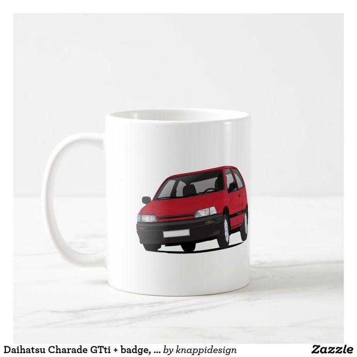 Daihatsu Charade GTti + badge, red coffee mug. Also in other color options.  #daihatsu #daihatsucharade #gtti #automobile #japan #nippon #japanesecars #80s #1980s #hothatch #coffeemug #coffeecup #kaffemuggar #muggar #mukit #automobiles