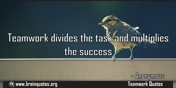Teamwork divides the task and multiplies the success  Teamwork divides the task and multiplies the success  For more #brainquotes http://ift.tt/28SuTT3  The post Teamwork divides the task and multiplies the success appeared first on Brain Quotes.  http://ift.tt/2fS5mcP