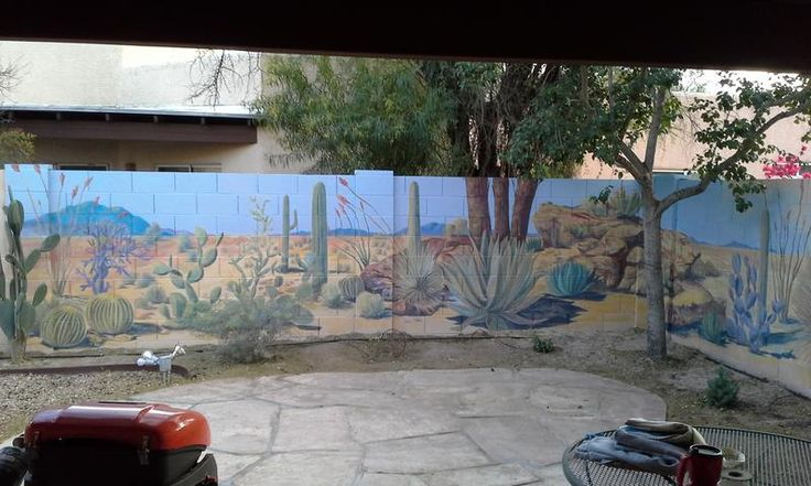 Desert landscape mural on backyard cinder block wall. Beautiful.