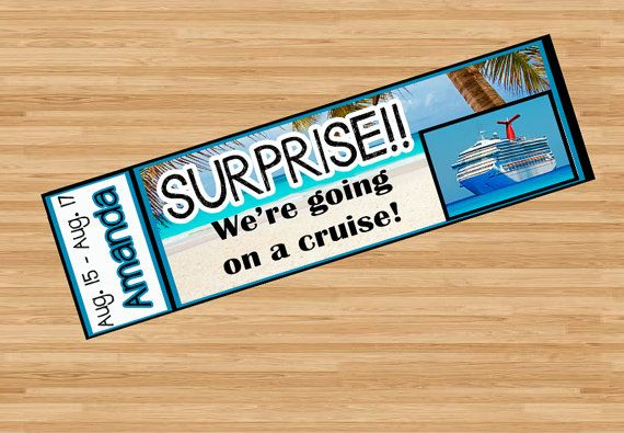 Want to surprise your spouse, kids, friends, parents, or someone special with a cruise? This awesome custom ticket it a fun way to make that surprise special and it will give you a special keepsake to remember the fun! Customized pdf, printable, jpg, from Etsy. $7.50 Birthday, Anniversary, Wedding, Honeymoon, Graduation, Christmas, gift, present, surprise, ticket, cruise, Caribbean, vacation, ticket, keepsake.
