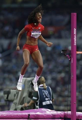 Brigetta Barrett, US, reacts as she wins silver in the women's high jump final.