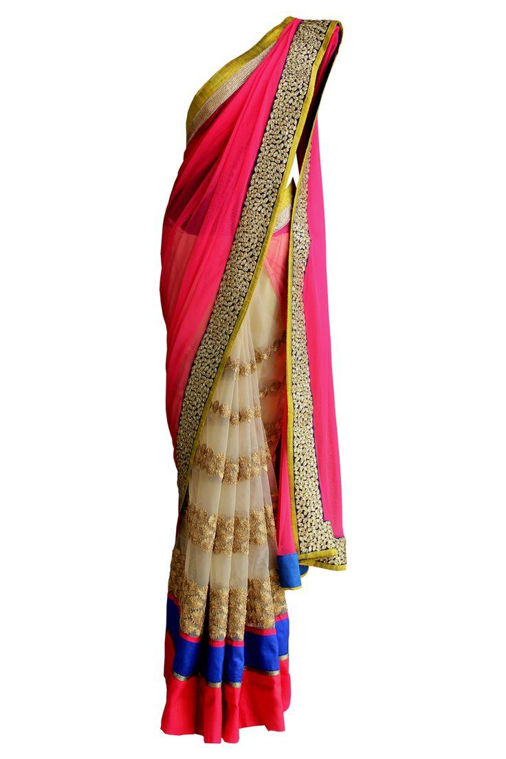 Pret'i by Priti Sahni | Crimson Net Saree | SCARLETBINDI.COM