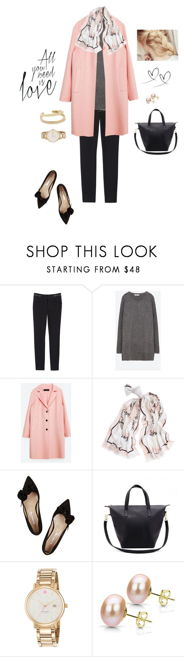 """""""Love is in the Air"""" by bluehydrangea ❤ liked on Polyvore featuring Rebecca Taylor, Zara, White House Black Market, Oscar de la Renta, Cuyana, Kate Spade and DaVonna"""