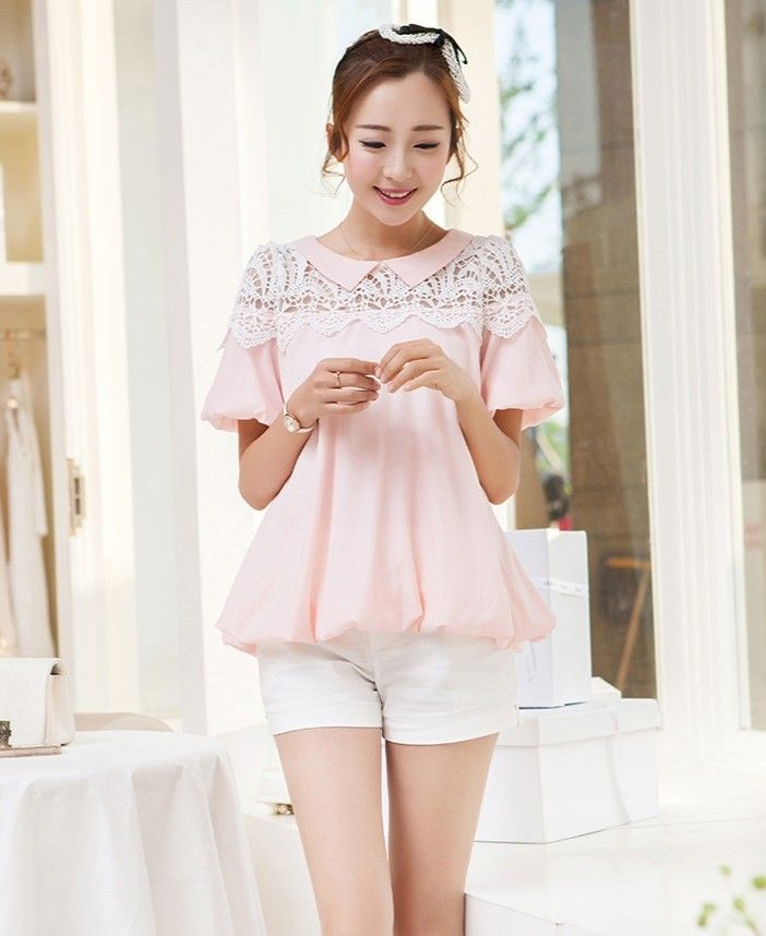Summer casual blouse with lace embroidery YRB0791 #pinktop #chiffontop