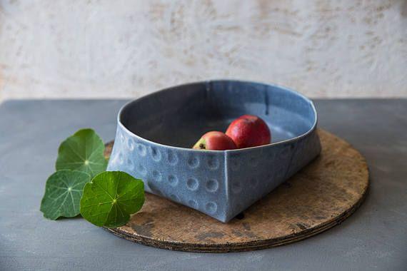 Tazón de cerámica de cerámica azul que sirve tazón de fuente