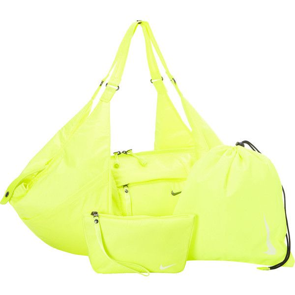 Nike Victory Gym Tote ❤ liked on Polyvore featuring bags, handbags, tote bags, tote handbags, nike tote, yellow tote bag, nike tote bag and tote hand bags