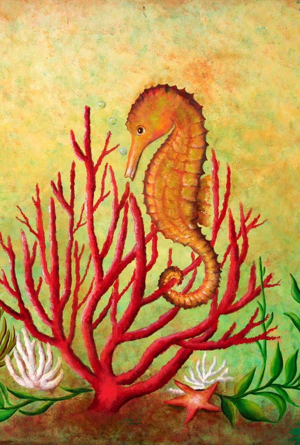 Seahorse And Coral Painting by Gabriela Valencia - Seahorse And Coral Fine Art Prints and Posters for Sale