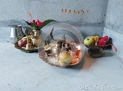 Hindu Worship materials with diyo tapari and kalash.