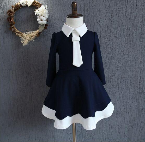 2016 otoño niñas estilo preppy vestidos de partido de los cabritos del vestido de los niños del estilo navy remiendo de la manga larga ropa de niñas 2-6y