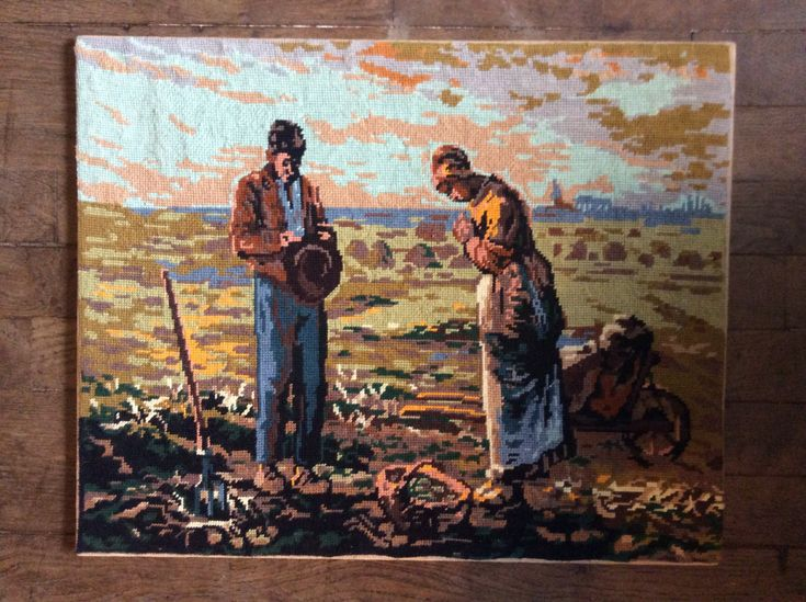 Vintage French cross stitch tapestry The Angelus Jean-Francois Millet harvest farmer farming couple praying circa 1950-60's Purchase in store here http://www.europeanvintageemporium.com/product/vintage-french-cross-stitch-tapestry-the-angelus-jean-francois-millet-harvest-farmer-farming-couple-praying-circa-1950-60s/