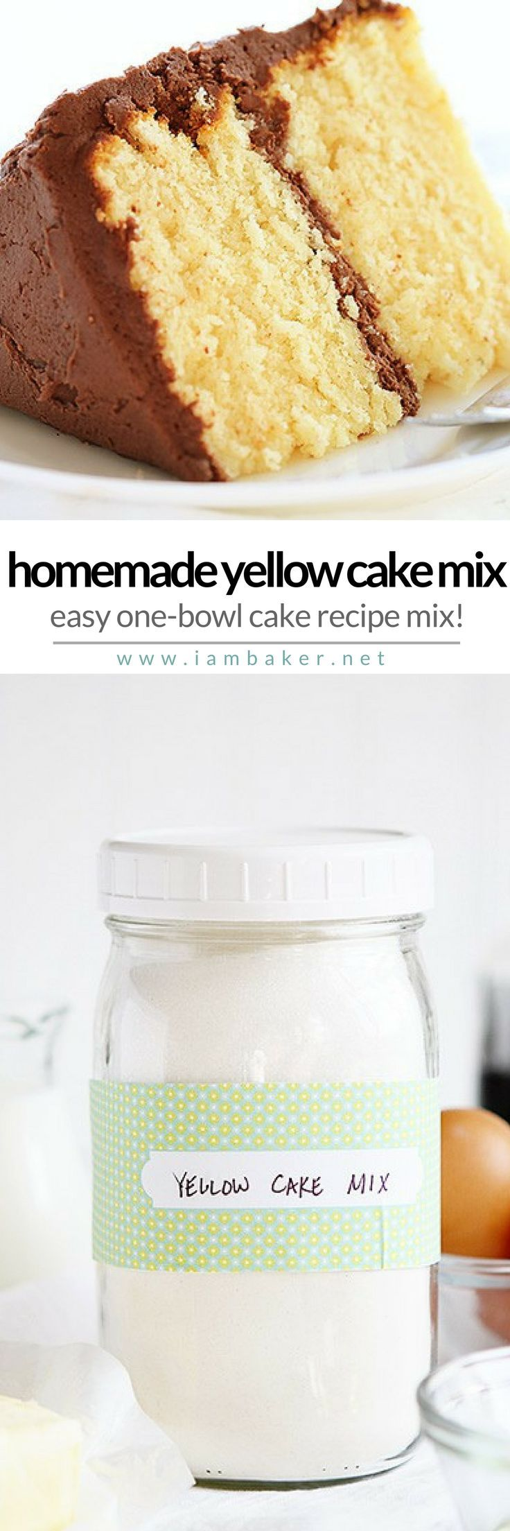 HOMEMADE YELLOW CAKE MIX | It's a one-bowl recipe you'll definitely love! Homemade and from scratch dessert you can share with the whole family! For more simple and easy dessert recipes to make, check us out at #iambaker. #foodlover #desserts #yummydesserts #recipeoftheday #cake #sweettooth #yellowcake #cakemixrecipes