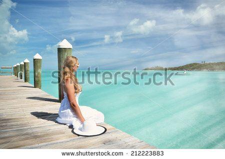 Beach scene, Exuma, Bahamas - stock photo