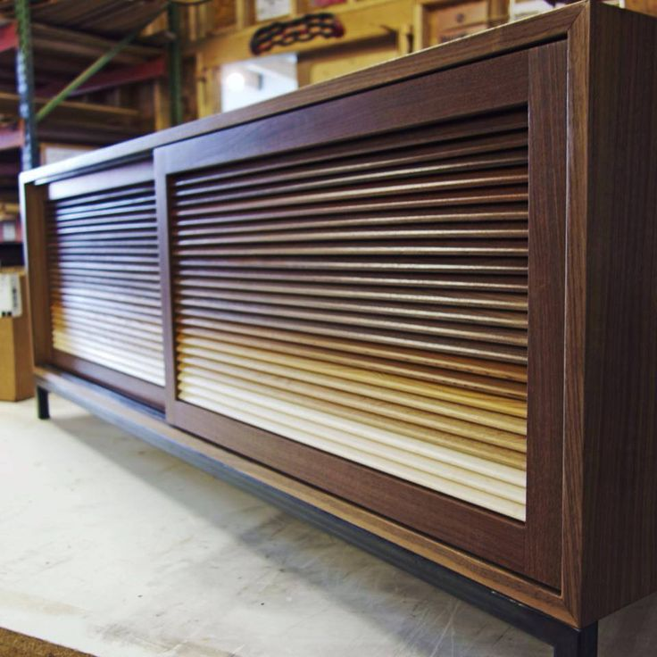 Custom Walnut Credenza With Gradient Louvers. Designed And Fabricated By  Built In Seminole Heights Florida