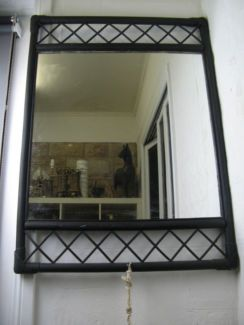 $40 Exotic BLACK BAMBOO CANE MIRROR 66x91cm Text 0411691171 or email info@bitspencer.com
