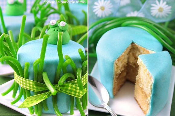 garden party themed cakes | Frog Mini-Cakes and a Summer Party Theme | At Home with Kim Vallee