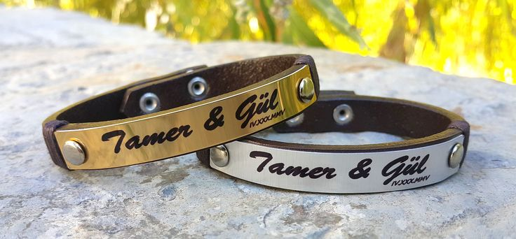 Personalized Leather Bracelet, Custom Leather Name Bracelet, Romen Numeral, Womens Jewelry, Mothers Day Gift, Girlfriend Gift, Gift for Her