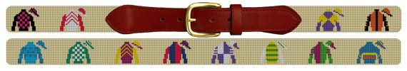 The Horse Racing Silks Needlepoint Belt Kit is sure to catch everybodys eye at next years Derby party. So plan ahead and start stitching soon!  The needlepoint kit features colorful Jockey Silks, with classic patterns. If there is a pattern you want us to include on your canvas, let us know and wed be happy to! We can also add a monogram at no extra charge.  The price listed is for an UNFINISHED needlepoint canvas. Handmade on Zweigart Mono canvas - 18 count. (14 mesh is also available upon…
