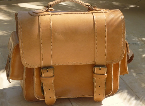 Leather Briefcase Messenger Camera Bag
