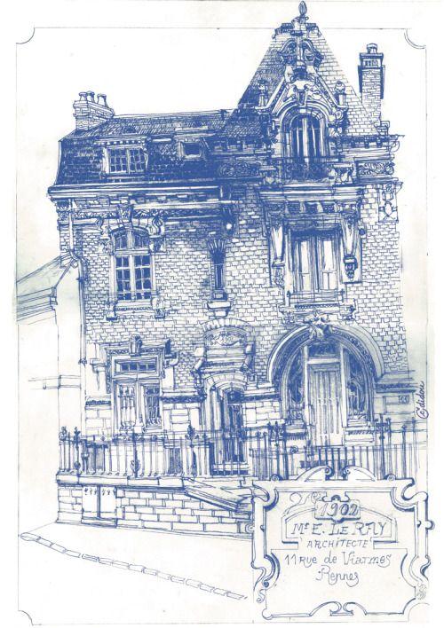 Rennes, 11 rue de Viarmes.Hôtel particulier de 1901, construit par l´architecte Emmanuel Le Ray afin d'y installer son bureau et son logement personnel.  ©didou_2013