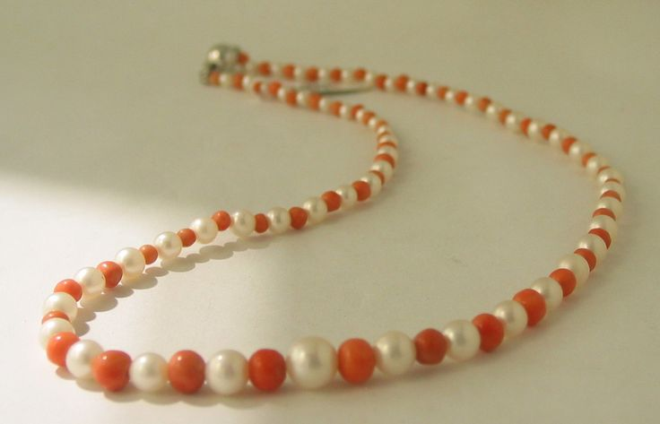 14ct White Gold Clasped Natural Coral and Freshwater Pearl Graduated Necklace - $795-