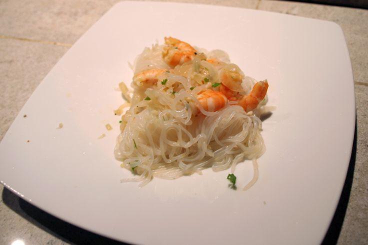 Shirataki de konjac aux crevettes, ail et gingembre