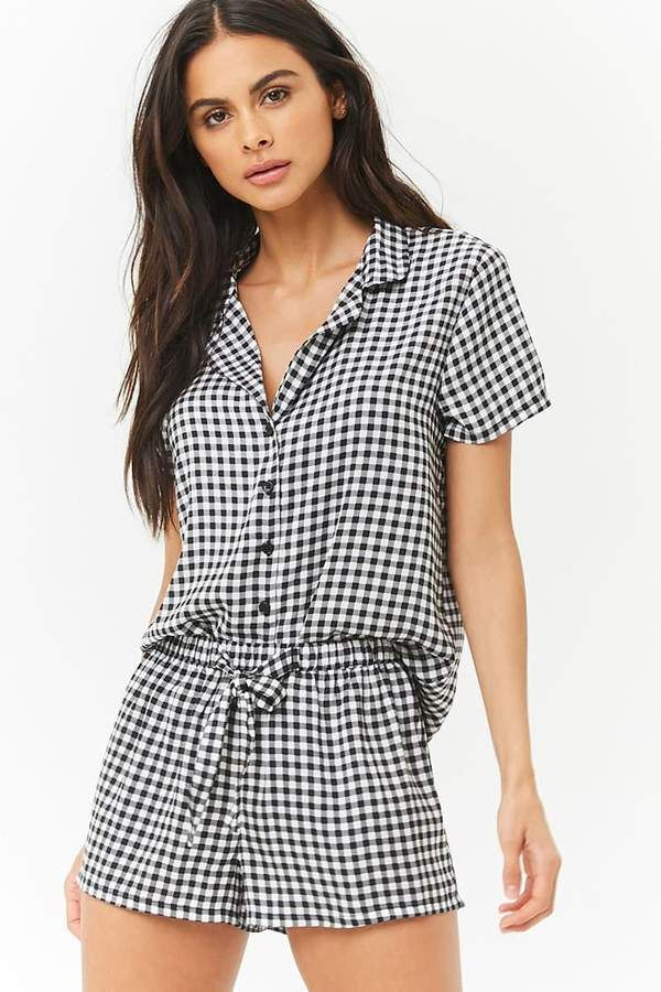 a0ab3ecf4d68 Forever 21 Gingham Satin Pajama Set