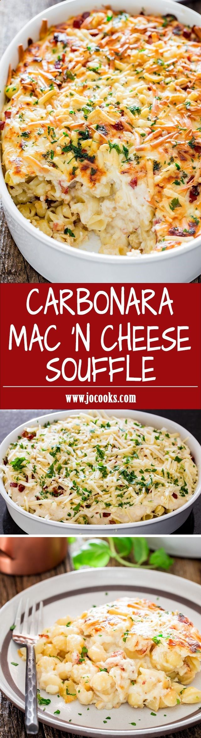Carbonara Mac n Cheese Souffle - the end all of mac and cheese. Its fluffy, puffy, yummy, gooey, cheesy and creamy pasta with crispy pancetta. Need I say more?