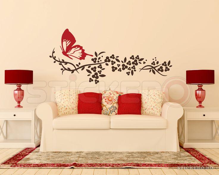 Crenguta florala cu fluturas - autocolant de perete