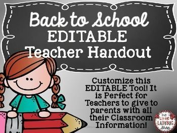 Back to School Teacher Brochure {Editable}Back to School is such a wonderful and BUSY time of the year! This perfect and easy tool is a wonderful way for parents to get to know All About YOU and your Classroom Information. Having this brochure pamphlet is an EASY and wonderful tool for them to keep with all your important class information!It is an EDITABLE packet with sections ready to be completed!