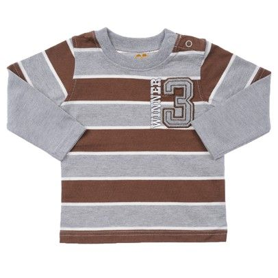 Brown And Grey Stripes, Grey Sleeves With Winner 3 Embroided-BBLT010-Brown-Grey-White $7.00 on Ozsale.com.au