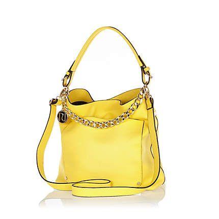 Yellow chain trim slouch bag £30.00
