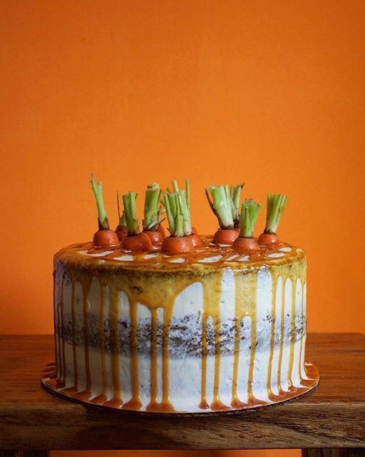 Triple Layer Carrot Cake With Caramel Drip And Fresh Carrot Tops via feedfeed on…