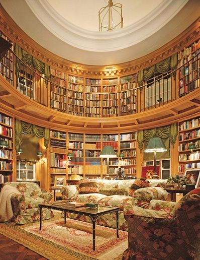 """""""'This is one room I know I'm going to be proud of all my life,' Thierry W. Despont said of the library he created in a Georgian Revival house, also of his making, in Toronto, Canada. The library's baronial design, a riff on the domed hall of Palladio's Villa Capra. Fabric by Brunscwig"""