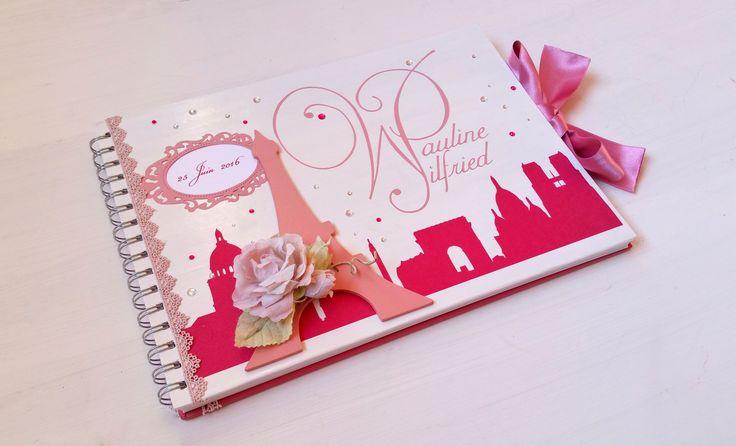 Livre d'or romantique PARIS - Fuchsia et Vieux rose - L'instant C