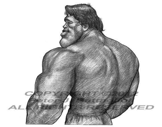 Arnold Schwarzenegger 7-time Mr. Olympia     Limited Edition Caricature Art Print by Peter J. Battaglioli     - This is a print of my original