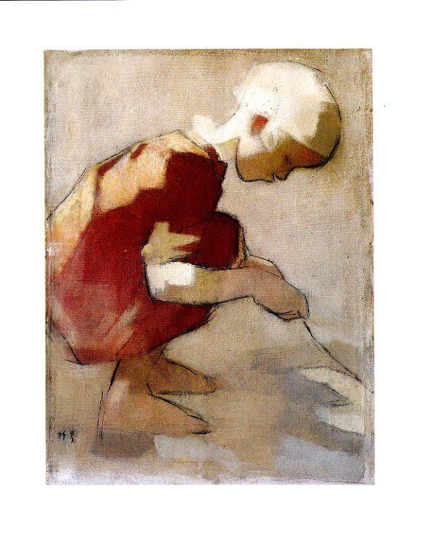 Kuva albumissa HELENE SCHJERFBECK - Google Kuvat. Tyttö hiekkakuopassa 1942. Keravan taidemuseon näyttely 1995, taittokortti.