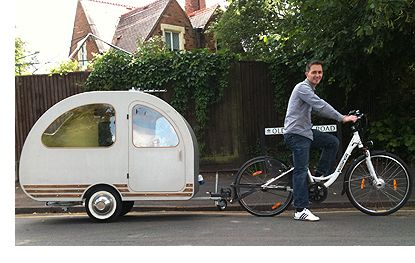 The worlds smallest caravan. Designed to be towed by a mobility scooter but can be adapted to be towed by a bicycle.