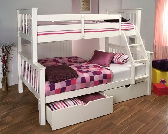 simple bunkbeds | Simply white bunk beds with 2 storage drawers