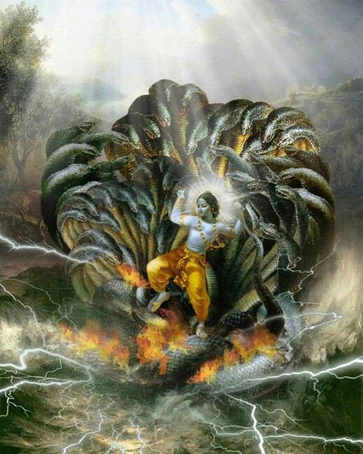 Hindu god Krishna in snakes head pit