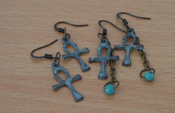 Verdigris jewelry - Ankh earrings - Turquoise jewelry