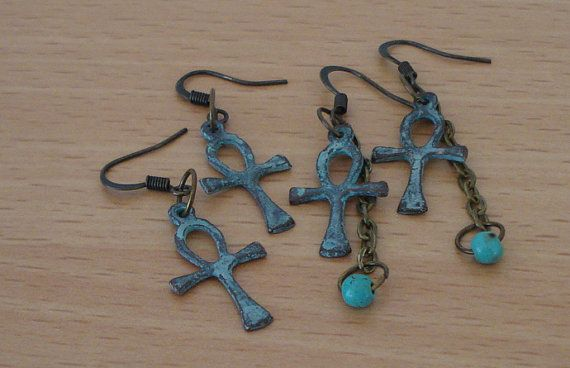 Verdigris jewelry - Ankh earrings - Turquoise jewelry