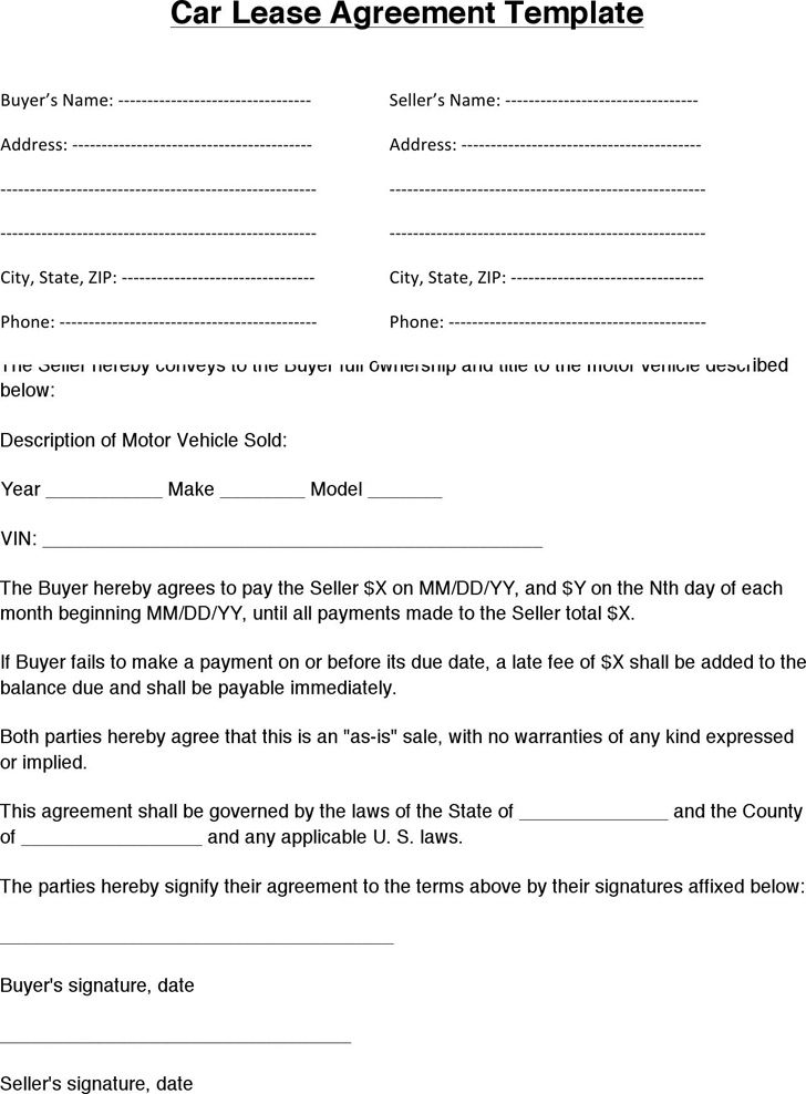 Rental Car Agreement Forms Free Meirink Vehicle Lease Agreement Template Car Lease Lease Agreement Rental Agreement Templates