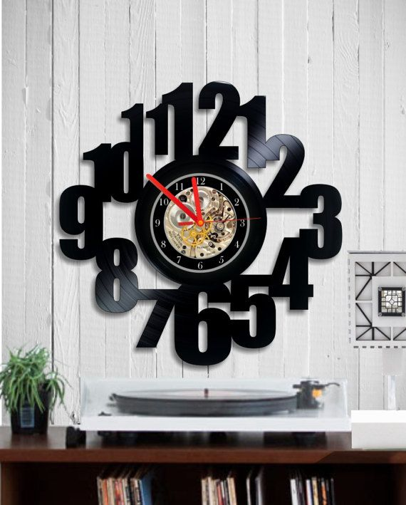 Numerals vinyl wall clock Home and living unique by Indigovento