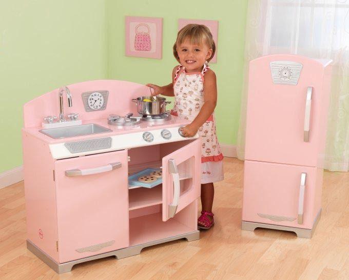 Kidkraft Pink Retro Kitchen Refrigerator Kids Playset