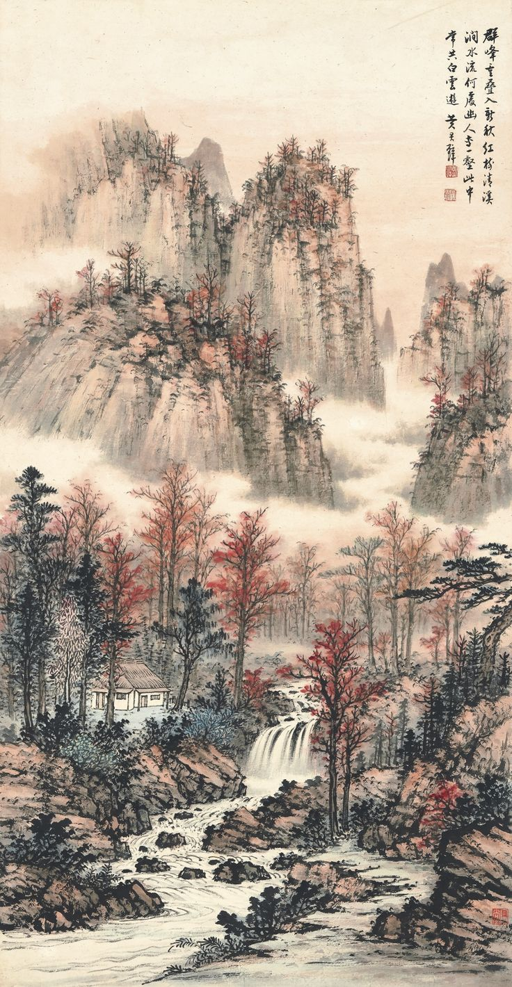 Huang Junbi (1898-1991) HERMITAGE IN THE AUTUMN WOODS signed HUANG JUNBI, inscribed, and with three seals of the artist. Titleslip by the artist himself ink and colour on paper, hanging scroll 109.8 by 57 cm. 43 1/4 by 22 3/8 in. 黃君璧 清溪紅樹 (1898-1991) 設色紙本 立軸 畫家署簽 簽書: 黃君璧〈清溪紅樹〉。 款識: 群峰重叠入新秋,紅樹清溪澗水流; 何處幽人專一壑,此中常共白雲遊。 黃君璧。 鈐印:「黃君璧印」、「君翁」、「白雲堂」。 109.8 by 57 cm. 43 1/4 by 22 3/8 in.