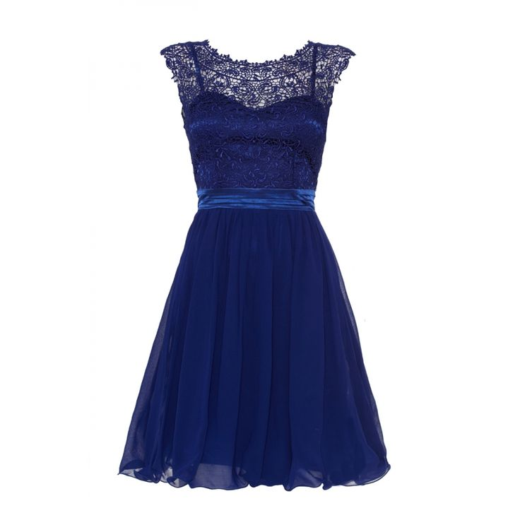 £40 Royal Blue Lace Chiffon Prom Dress - Quiz Clothing ...
