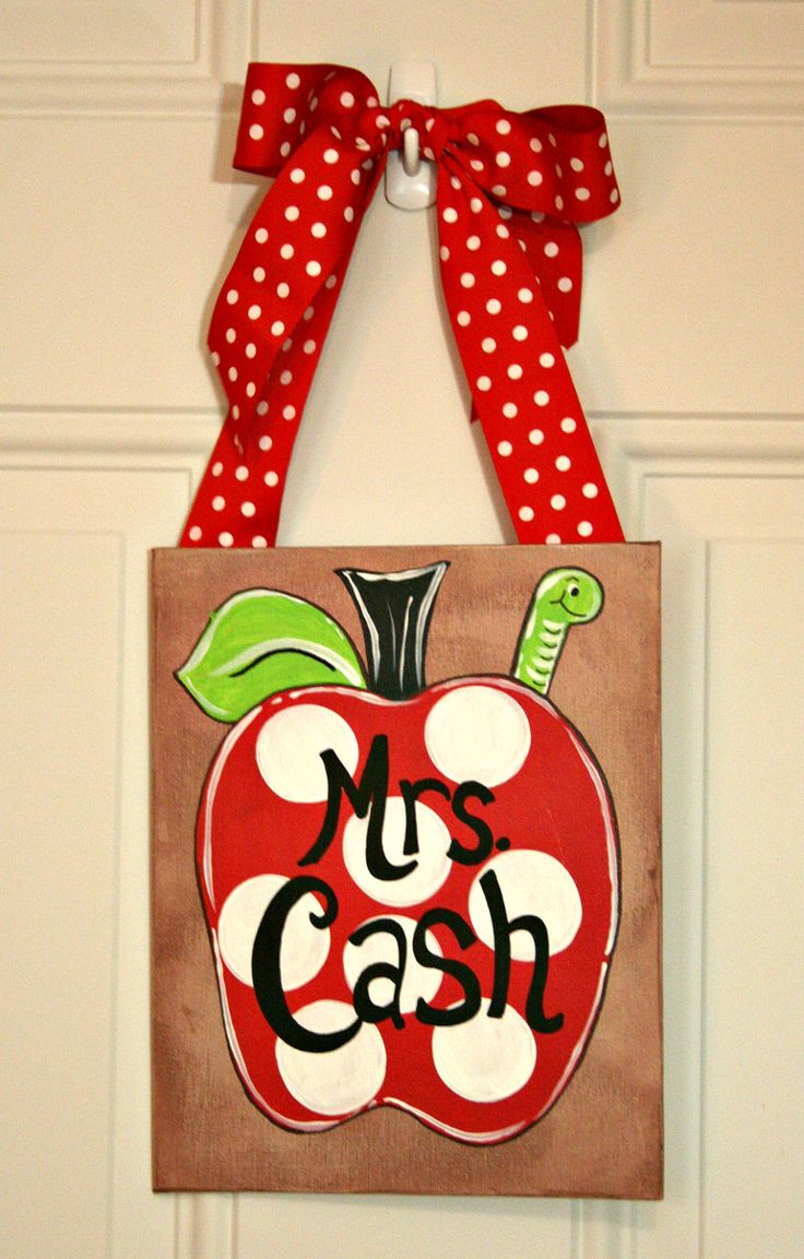 Personalized Teacher Gift Christmas Apple Polka Dot Painting Door Hanger Back to School. $15.00, via Etsy.