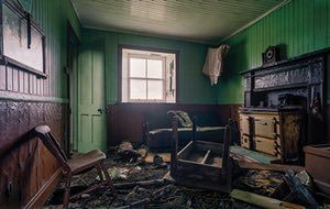Green RoomA sheep skeleton lies in the corner of a kitchen, surrounded by 12-inch records. The roof has since collapsed, burying everything inside