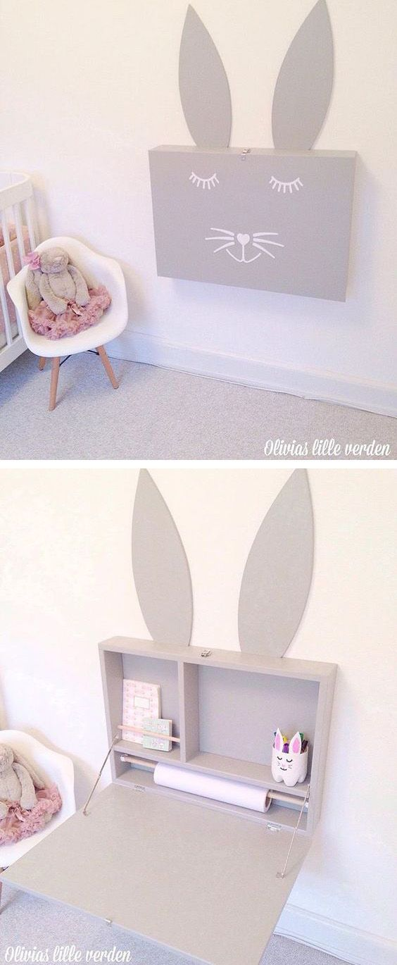 mommo design: design time - bunny spring... Love the idea for future kids but also just a space saving desk...